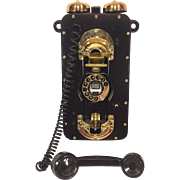 Vintage WWII Strowger Pax Rotary Ship Phone Brass & Metal Restored & Updated Made by Automatic Electric #1 of 2
