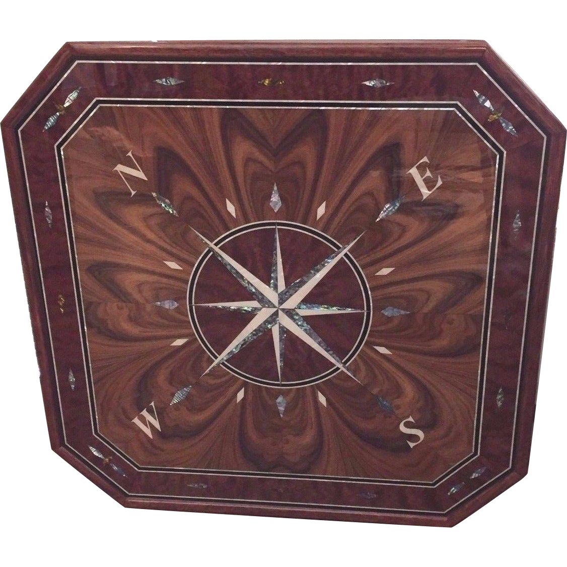 Vintage Compass Rose Custom Made Wall Plaque Medallion Inlaid Mother TimelessTokensDE
