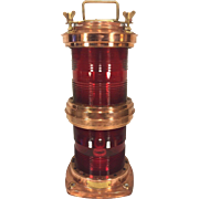 Vtg Nautical Light Double Red Glass Globes Copper Case Electrified Ready to Be Wired Rotterdam 1976