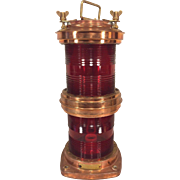 Vtg Nautical Light Double Red Glass Copper Case Electrified Ready to Be Wired Rotterdam 1976  #3 of 3