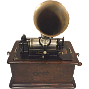 Antique Edison Cylinder Phonograph Model C Reproducer w/ Horn & 3 Cylinders Wood Hood Mechanism Runs 1908