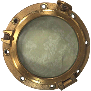 Vintage Brass Ship's Porthole w/ Glass #2 of 2 2 Two Dog Ears WWII Era