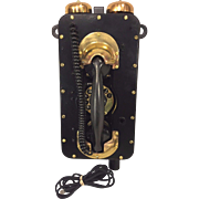 Vintage WWII Strowger Pax Rotary Ship Phone Brass & Metal Restored & Updated  Made by Automatic Electric #2 of 2
