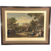 "Antique Engraving ""Raising the Liberty Pole"" Hand Colored in Frame Done by John McRae from FA Chapman Painting Centennial Piece 1875"