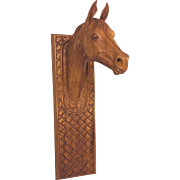 Vintage Wood Race Horse Head Carved Wall Oak Plaque Makin 1976