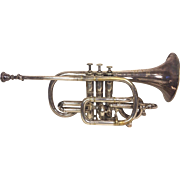 Antique Silver Antoine Courtois Cornet from France in Original Wood Case Extra Mouthpiece 1880s