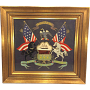 Antique Needlework of State of Pennsylvania Coat of Arms Framed Under Glass w/ Paperwork Latter 1800s