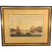 Antique Dutch Boat & Village Scene Watercolor Painting Unsigned in Wood Frame Under Glass