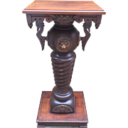 Antique Victorian Walnut Pedestal with Wood Carved Appliques and Finials Swan Heads
