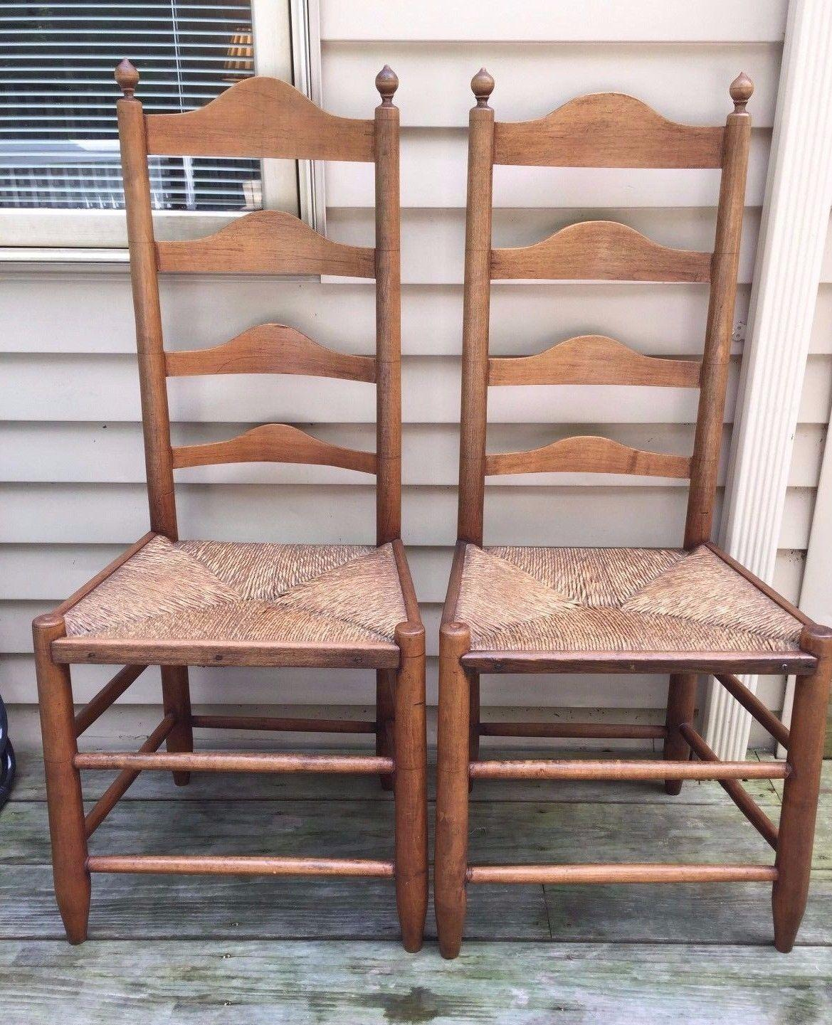 Antique Pair of 18th Century Ladderback Chairs Rush Seats American
