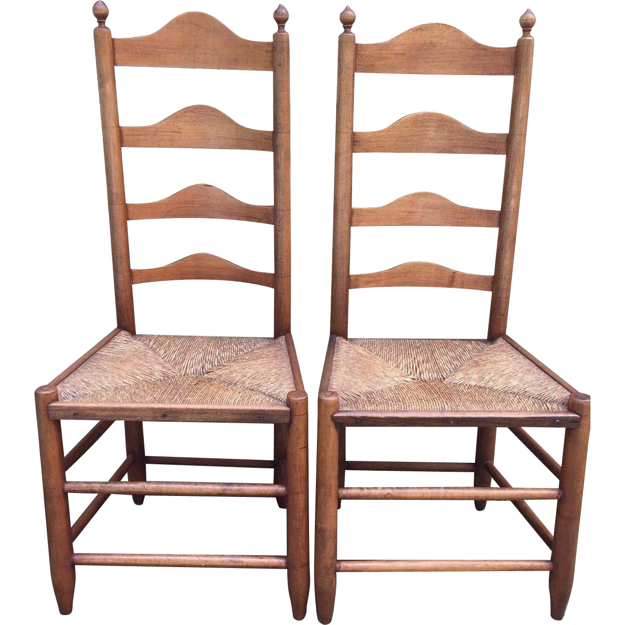 Antique Pair Of 18th Century Ladderback Chairs Rush Seats American :  TimelessTokensDE | Ruby Lane