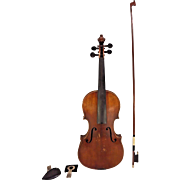 Antonius Stradivarius Style Violin 2 Piece Belly & 1 Piece Back in Case w/ Japanese Violin Bow