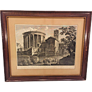 Francesco Morelli Pair of Late 1700 Engraving  Temple de la Sibylle at Ville de Tivoli Framed & Matted
