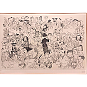 Vintage Al Hirschfeld Movieland 1954 Limited Edition Lithograph #1 of 250  Movie Star Caricatures, Framed & Matted