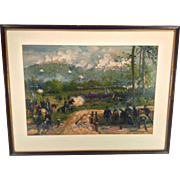 Antique Louis Prang Civil War Aquarelle Chromo Lithograph Battle of Kenesaw Mountain