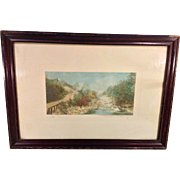 Signed Wallace Nutting Hand Tinted Picture Entitled A Little River in Wood Frame