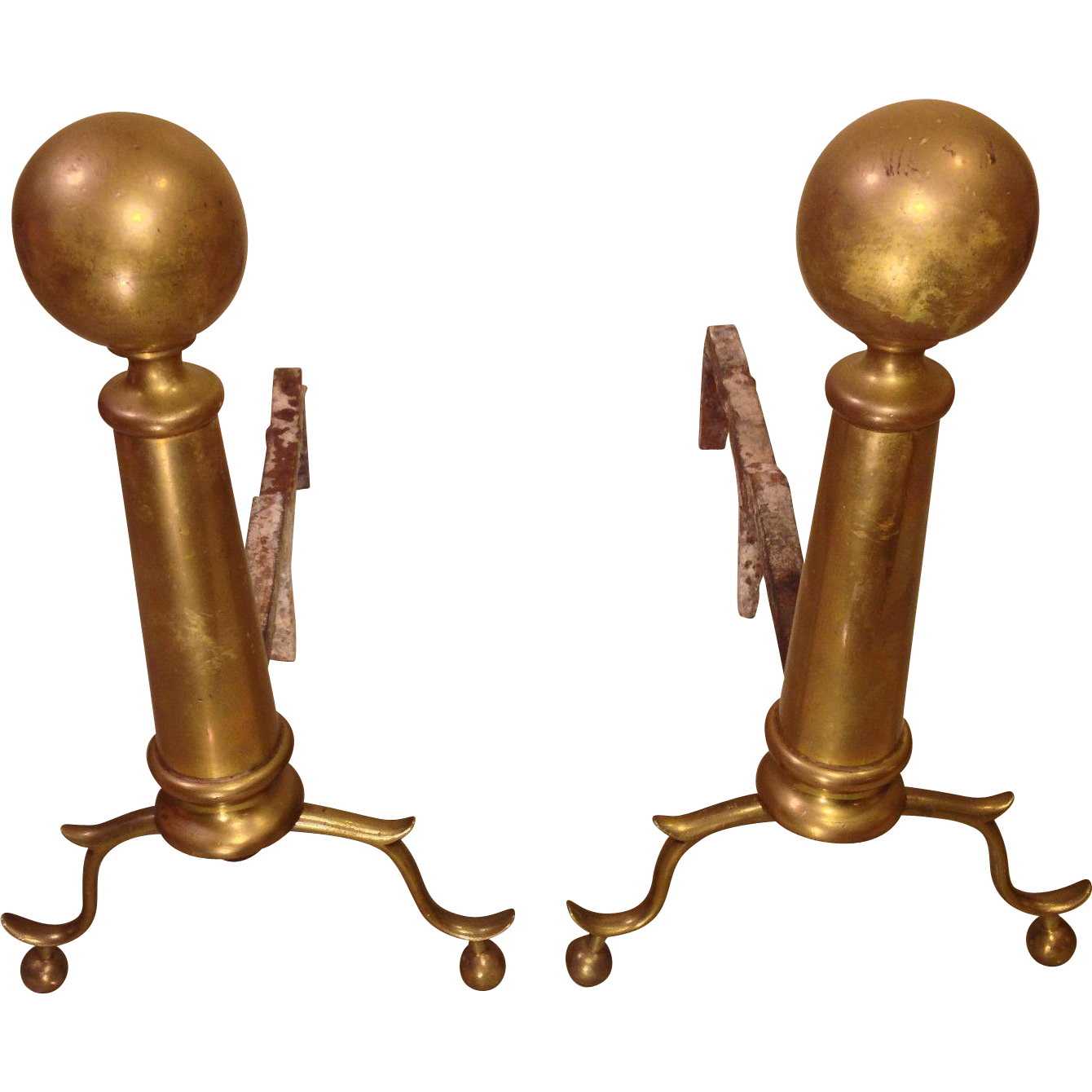 antique brass cannonball fireplace andirons no makers mark