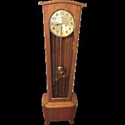 Vintage Daneker Modern Floor Grandfather Clock Model #33 Walnut Case Runs 1960