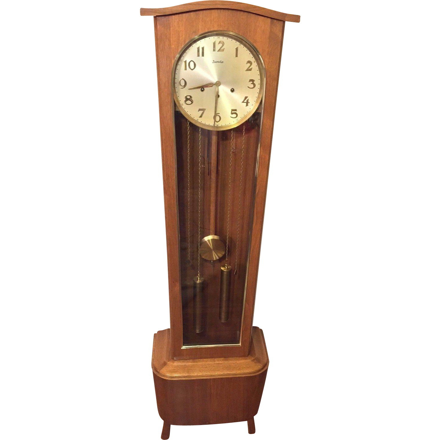 grandfather clock png. vintage daneker modern floor grandfather clock model #33 walnut case runs 1960 png r