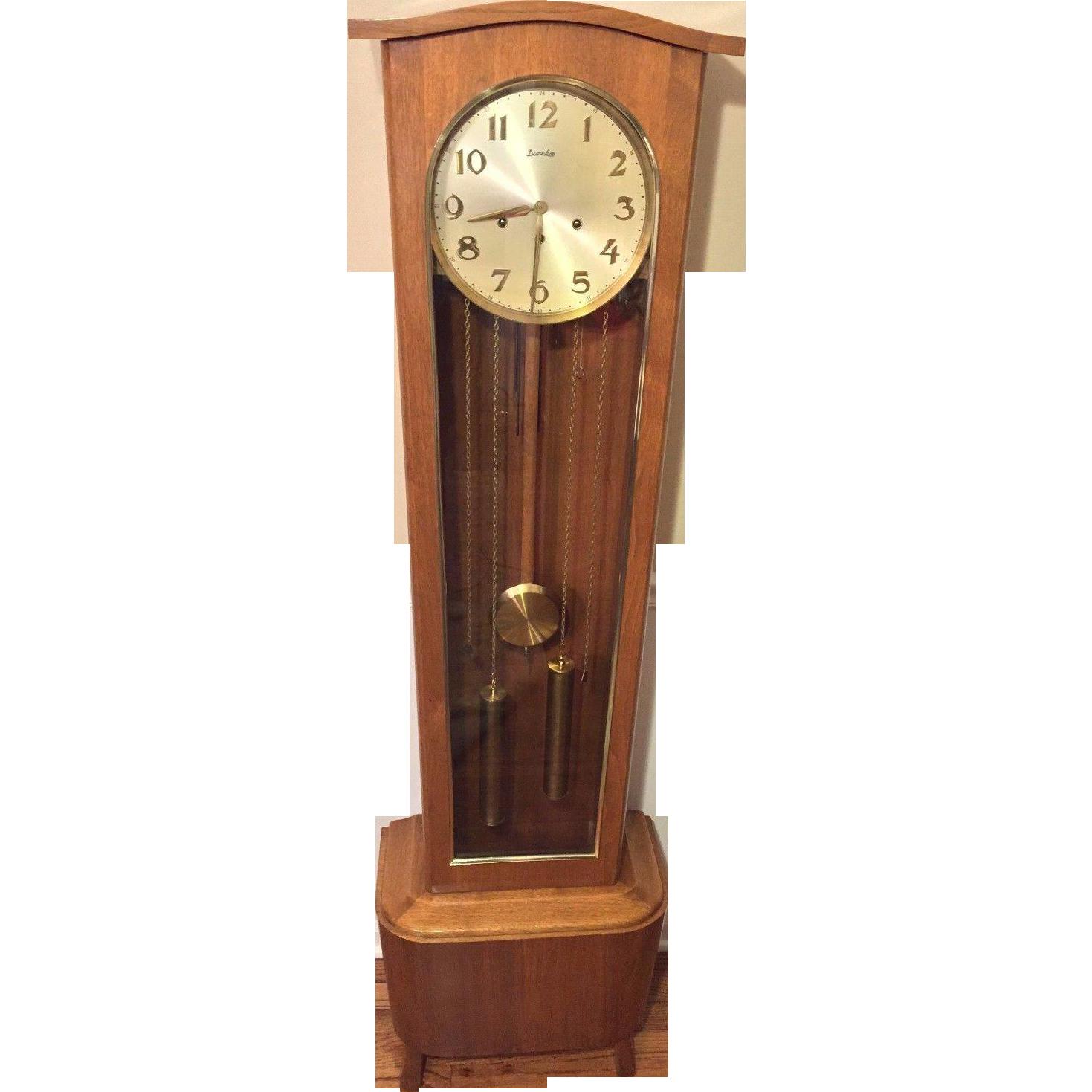 Vintage Daneker Modern Floor Grandfather Clock Model 33 Walnut Case From Tim
