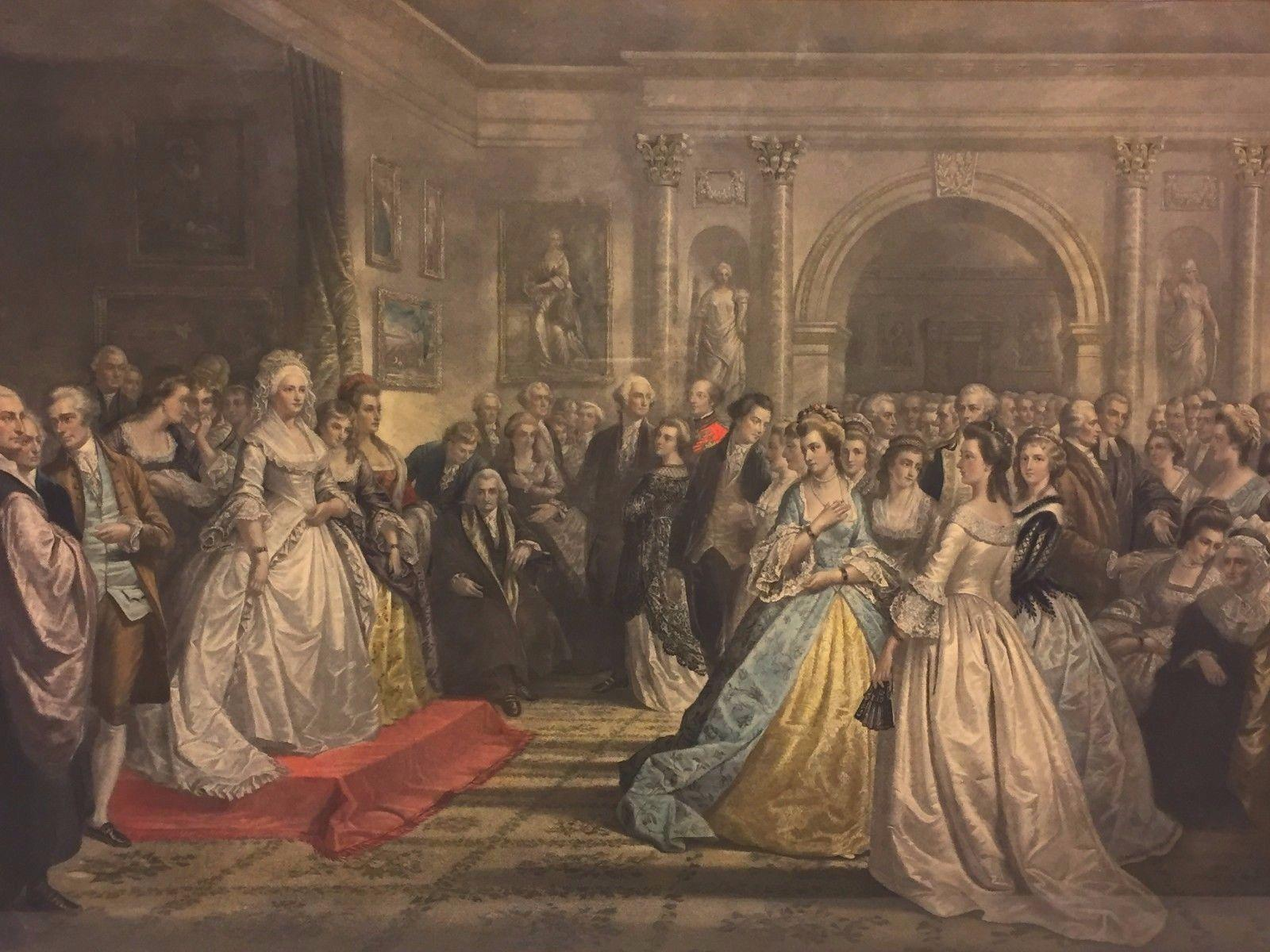 Antique Hand Colored Engraving Of Reception Of Lady