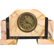 Vintage American Made Art Deco Pink White and Black Marble Runs w/ Antique Waterbury Clock Key