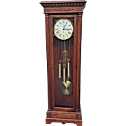 Vintage Howard Miller Grandfather Clock Cherry Case Model 610-847 3 Chime Options Runs Electric Backlit Top
