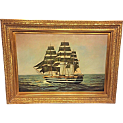Vintage F Harvey Oil On Canvas of French Clipper Ship Signed Lower Right Beautiful Gold Gilt Wood Frame