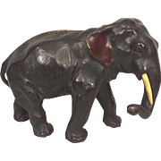 Vintage Bronze Patinated Elephant Sculpture with Composite Tusks Great Detailing Solid and Heavy