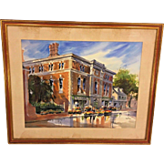 Vintage Pat Macht Watercolor of Street Scene 1986  3rd Place in Philadelphia Sketch Club Signed Framed and Matted