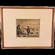 Antique Simon Fokke Engraving Slooten 1624 Framed & Matted