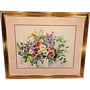 Vintage Susan B Myers Watercolor Painting of Floral Bouquet Signed Gold Wood Frame Framed and Matted