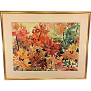 Vintage Barbara Gresham Watercolor Flowers in the Garden Signed Matted & Framed