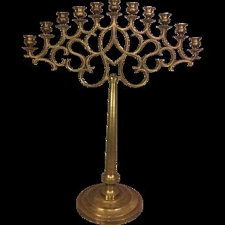 Vintage Large Brass Floor or Table Candelabra 11 Candle Holders