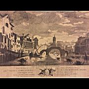 Urbis Venetiarum Ingressus E Germania  by Venetys Giampiccolo 1700s Engraving  Framed & Matted