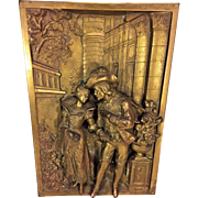 Vintage Bronze Plaque of Courting Scene No Makers Mark
