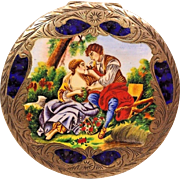 Antique Incised Lady's Compact w/ Enameled Top of Courting Scene 800 Sterling Silver w/ Mirror