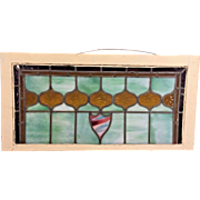 Antique Stained and Leaded Glass Transom Window Wood Frame