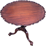 Antique Chippendale Style Mahogany Pie Crust Table Scalloped Hinged Top Claw and Ball Legs  No Makers Mark