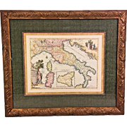 Vintage Reproduction Map of Italy Nicely Framed and Matted on Rolled / Ribbed Paper to Give Look of Age Great Coloring and Details