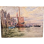 Antique Oil Painting on Canvas Viking Vessel by Harold T Kroenig