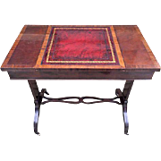 Antique Inlaid Mahogany and Cherry Game Table Chess Checkers & Backgammon Slide Top w/ Leather Legs on Wheel