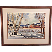 John E Detore Watercolor of Farm Scene in Snow Bare Birch Trees  and Mountains in Background Great Colors and Detail 1956