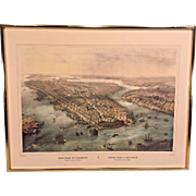 Antique New York City Manhattan and Brooklyn Color Lithograph in Frame  Engraving by Thomas Muller  afterPainting by Simpson