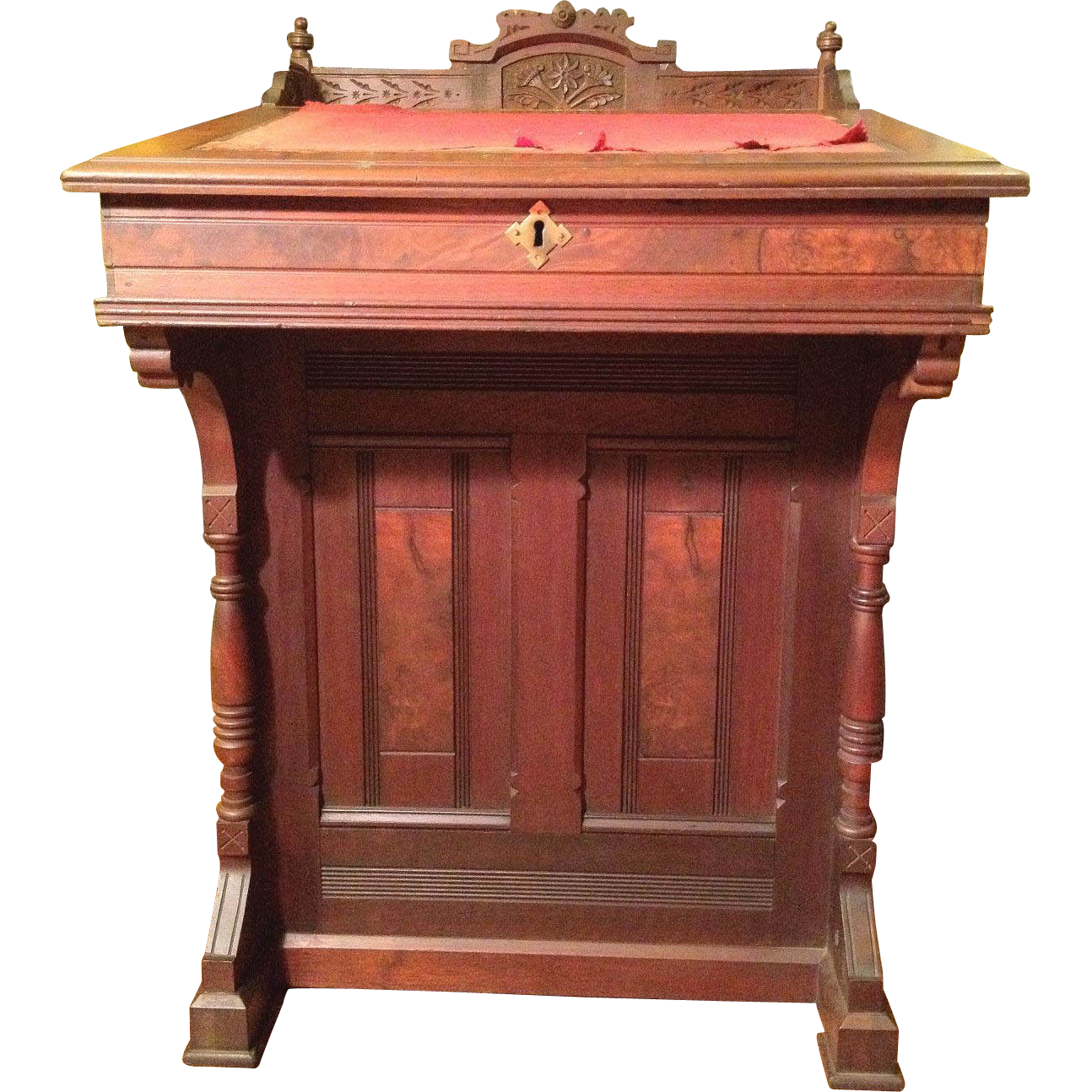 antique burled mahogany desk side drawers topper and finials great woodwork - Mahogany Desk