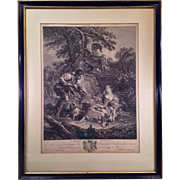 Nice Framed and Matted French Engraving Pinxit and Gaillard, Sculpter