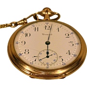 Antique E Howard 17 Jewels Pocket Watch Running Condition 25 Yr Gold Filled Case w/ Fob Serial # 1001087 Boston MA Circa 1910  Owned By Clarence W Ashby