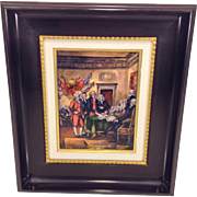 Vintage Pierre Bonnet Enamel Painting on Copper Plate Signing of Constitution in Frame w/ Certificate Ltd. Edition of 100 1955 Limoges France