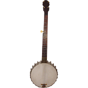 Antique George C Dobson 5 String Banjo Early 1880s with Vintage Soft Case Silver Bell Model