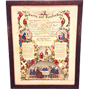 Antique 1873 Fraktur Currier and Ives Print Birth and Christening Document Lebanon County, Pennsylvania